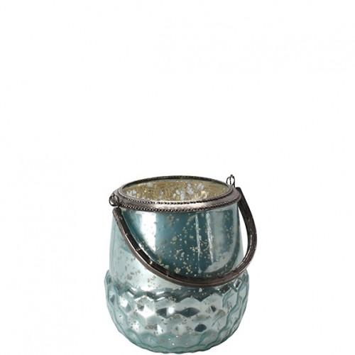 """Glas Windlicht """"Tobo"""" Höhe 17cm Durchmesser 15cm"""